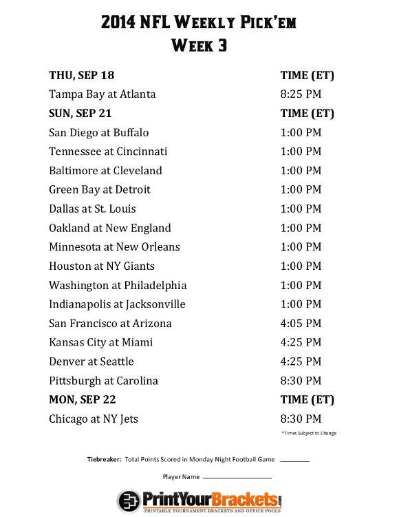 Printable NFL Week 3 Schedule Pick em Office Pool 2014