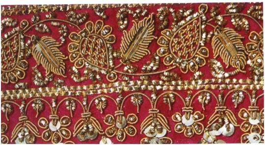 Zardosi – Gold Embroidery (Bhopal , Madhya Pradesh).