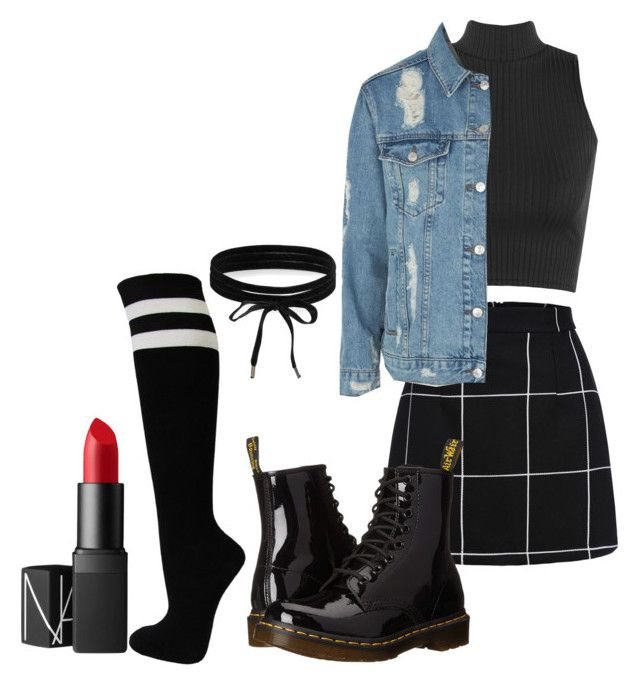 """Grunge"" by danielle-bell-i on Polyvore featuring WearAll, Topshop, Dr. Martens, Boohoo and NARS Cosmetics"