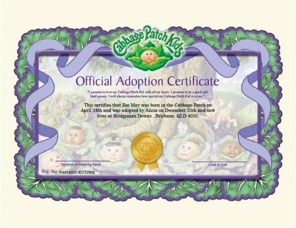 Found On Bing From Printabletemplates Com Birth Certificate Template Cabbage Patch Cabbage Patch Babies