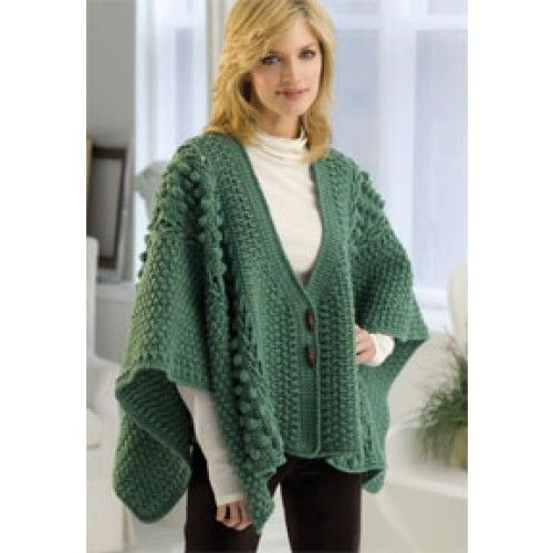 Free Aran Toggle Wrap Crochet Pattern shawls Pinterest ...