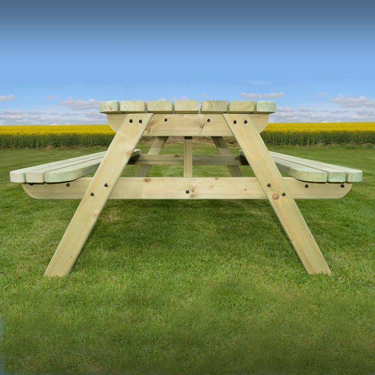 Oakham picnic table (avaiable in sizes 3ft - 8ft, rounded adges and in rustic brown/light green)