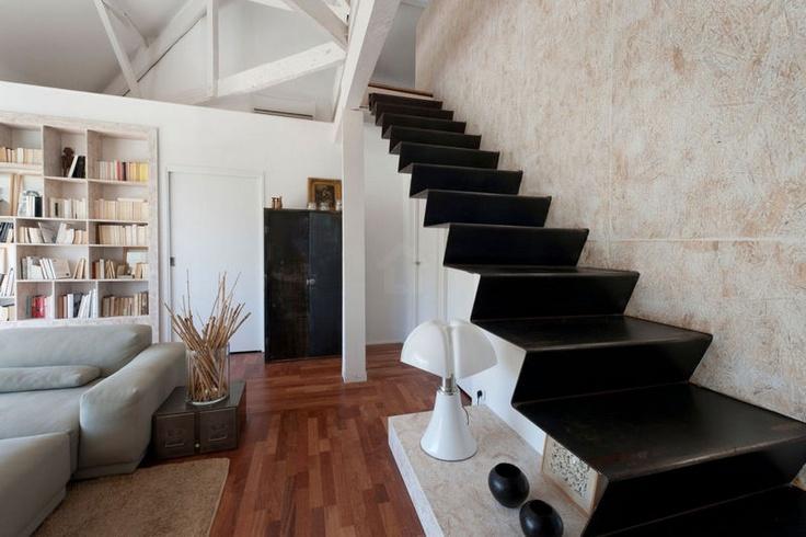 stairway, from bare folded steel sheet - Le Prado Residence, Maurice Padovani