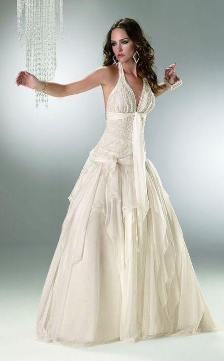Vestidos de novia color perla con dorado