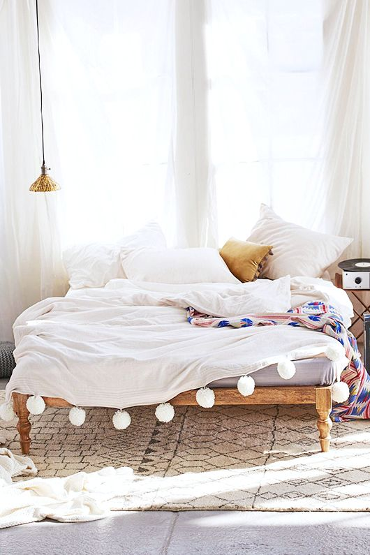 Pom pom bed spread spaces and gems pinterest boho for Space design blanket