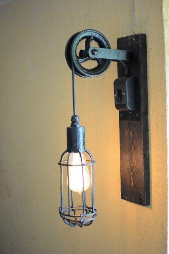 Lampara De Diseño Jaula Polea Hierro Estilo Vintage Deco