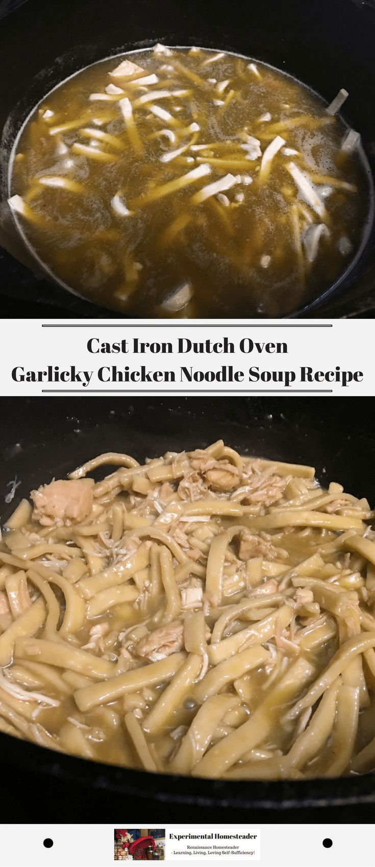 This is simply the best chicken noodle soup recipe. It is quick recipe that is easy to make in a cast iron dutch oven on a stove or over an open fire. #bestchickennoodlesoup #castirondutchoven #castironcooking #chickenrecipes #pastarecipes #quickeasyrecip