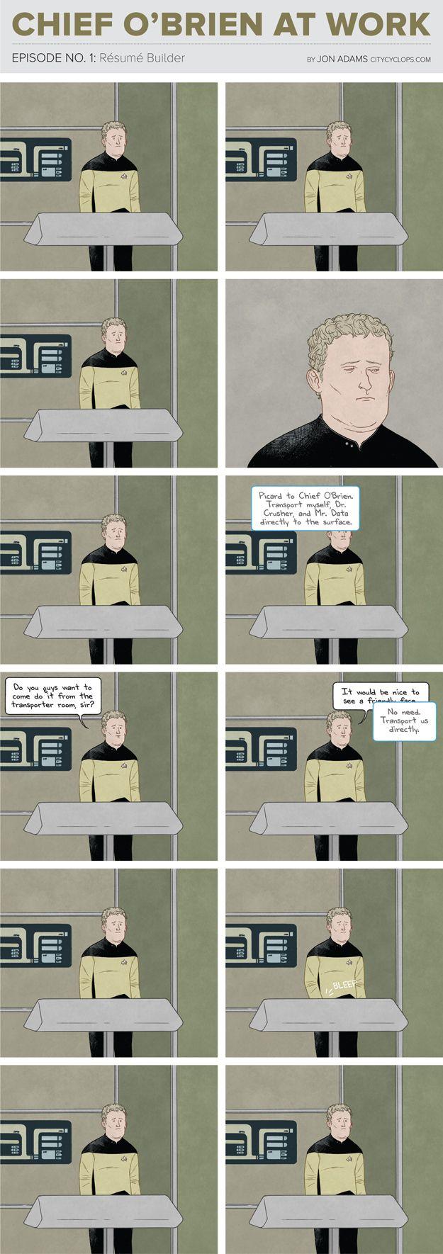 The Most Depressing Job On The Starship Enterprise. Poor O'Brien...