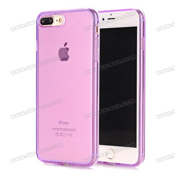 Soft Transparent TPU Case Cover for iPhone 7 Plus 5.5 inch - Purple