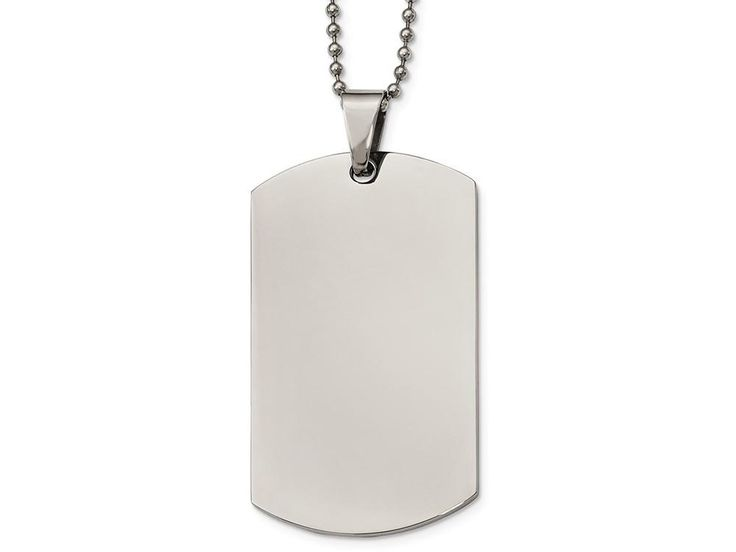 Chisel Stainless Steel Polished Rounded Edge Xlarge 2mm Thick Dog Tag Necklace