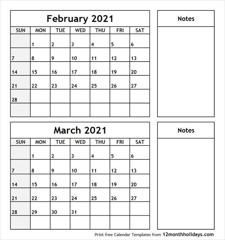 Free February March 2020 Printable Calendar Templates