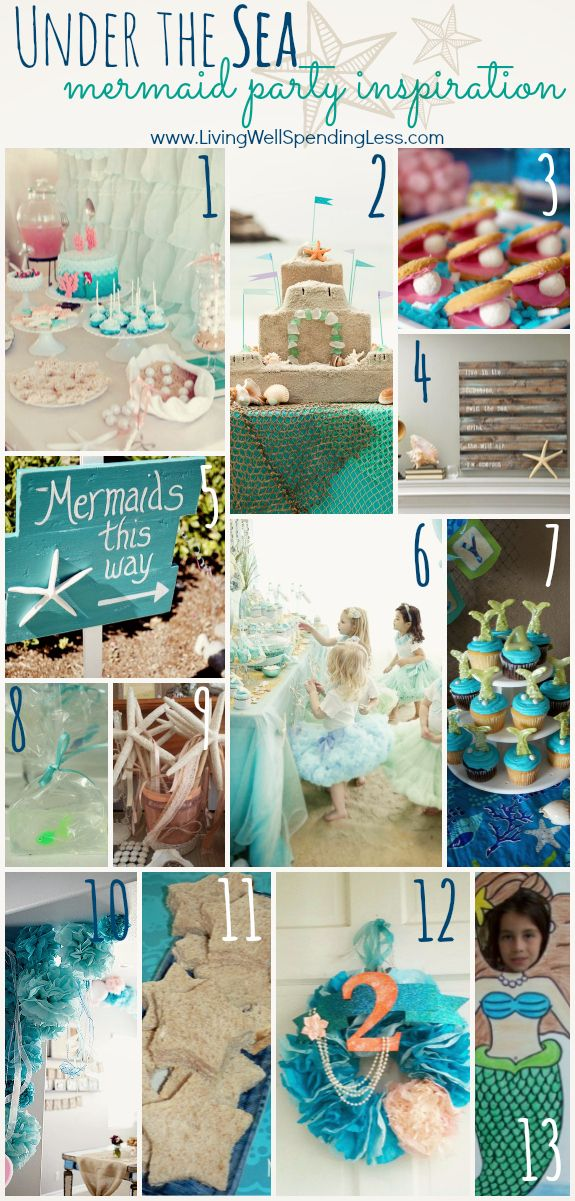 Under the Sea--Mermaid Party Inspiration Board (SO many fun ideas plus links to sources for MORE ideas!) #mermaid #party