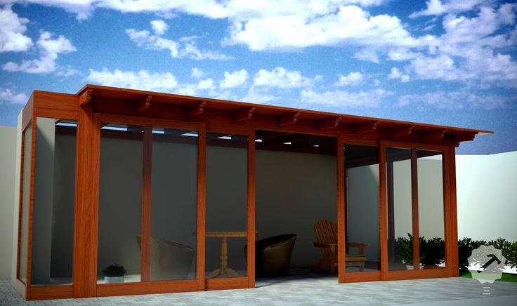 Techo terraza m s mamparas de vidrio con marco de madera - Techos de madera para terrazas ...