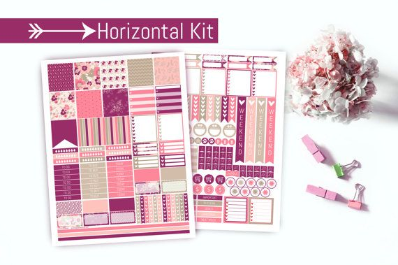 Romantic Pinks Horizontal Planner Stickers  by PrintsesPlanner