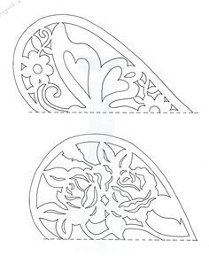 Butterfly heart and flower heart PATTERN Scherensnitte very large great for resizing