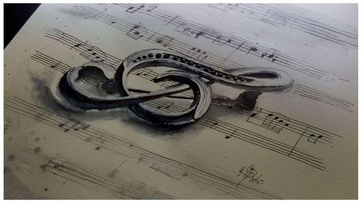 Originál malovaný akvarelový obraz Houslový klíč