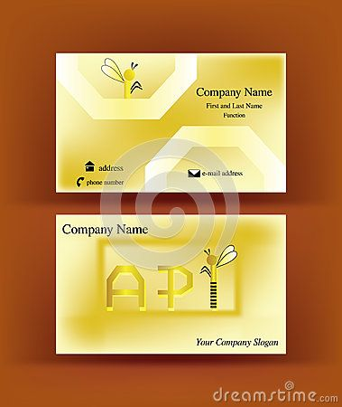 #Business #card with #API #letters design, referring to the word #apiculture, having the I letter resembling an abstract #bee, on brown background