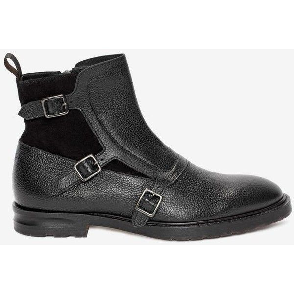 Alexander McQueen 3 Buckle Boot ($825) ❤ liked on Polyvore featuring men's fashion, men's shoes, men's boots, alexander mcqueen mens shoes, mens leather shoes, mens leather buckle boots, mens buckle boots and mens woven leather shoes