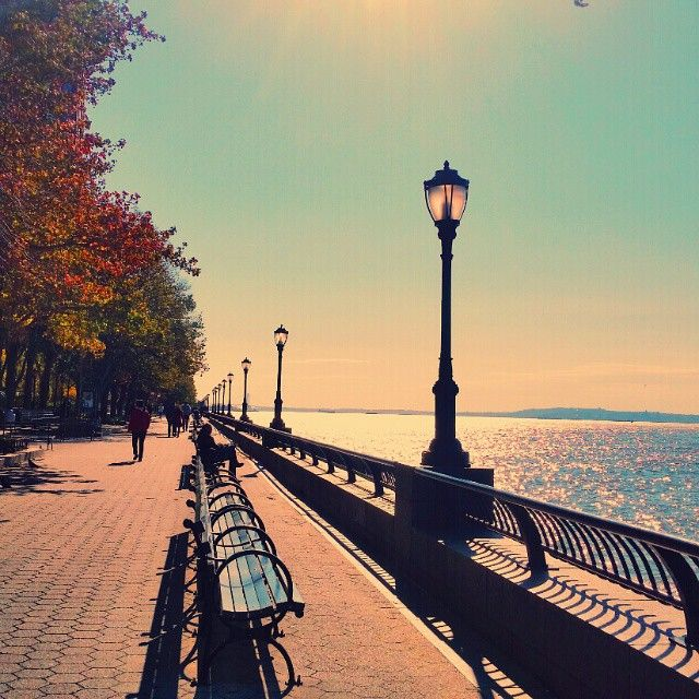 Bright autumn sunshine in Battery Park. Photo courtesy of leezwashere on Instagram.