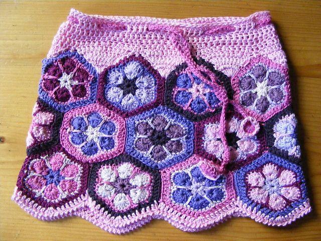Crochet~ African Flower Hex Skirt- Free Pattern for the Flower Hex