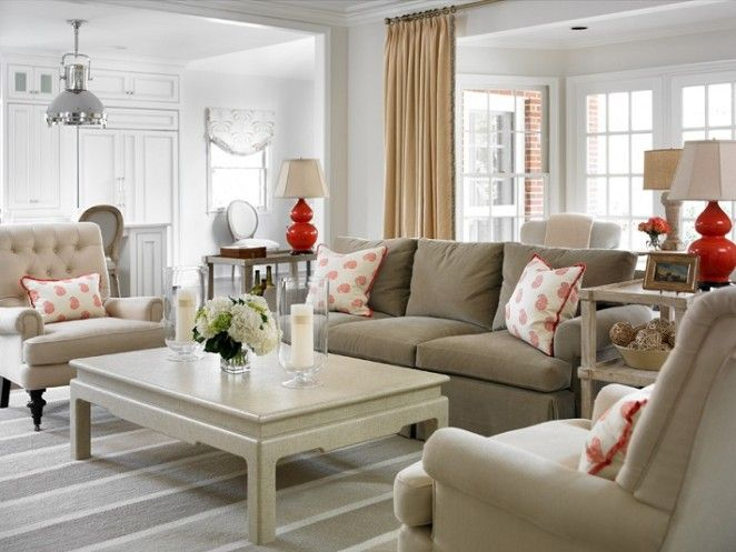 Living room.  Neutral with pops of red