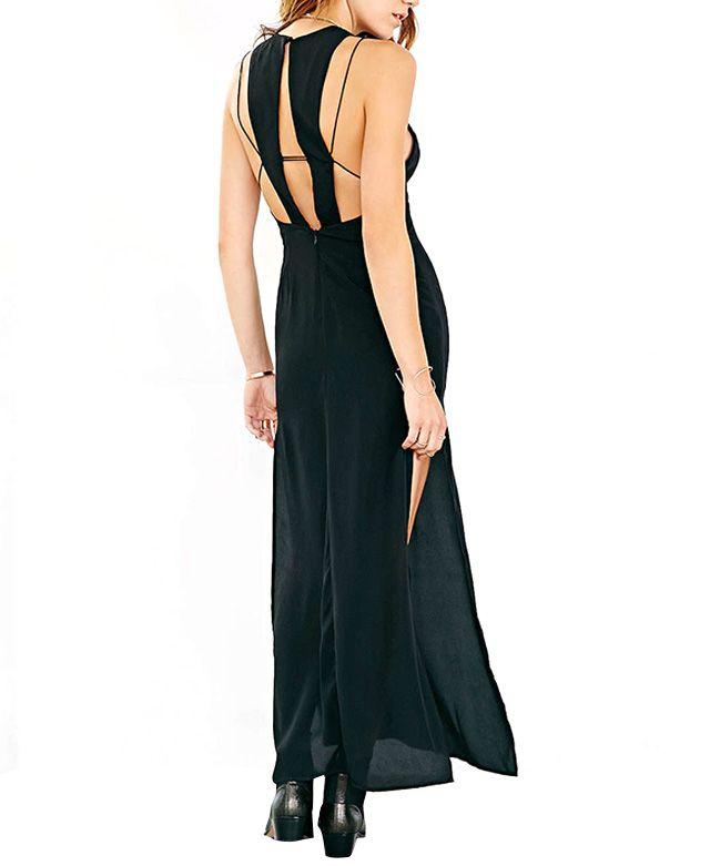 Backless Side Slit Evening Dress