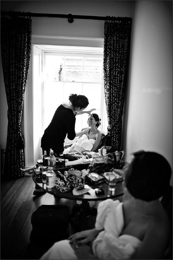 Black & white bridal prep image from Botleys Mansion / nealejames.com