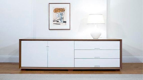 Walnut and White Lacquer Credenza on Wanelo  For the Home  Pinterest   Credenzas and Ps