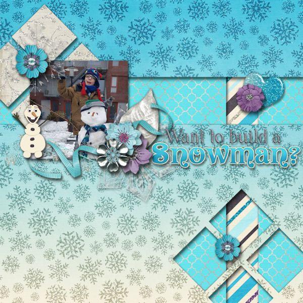 Want to build a snowman? - digital scrapbook layout.    Credits:  Ice Queen Grab Bag by Laurie's Scraps & Designs at Gingerscraps    Snow Frozen IceQueen Winter scrapbooking digiscrap     http://store.gingerscraps.net/Ice-Queen-GrabBag.html