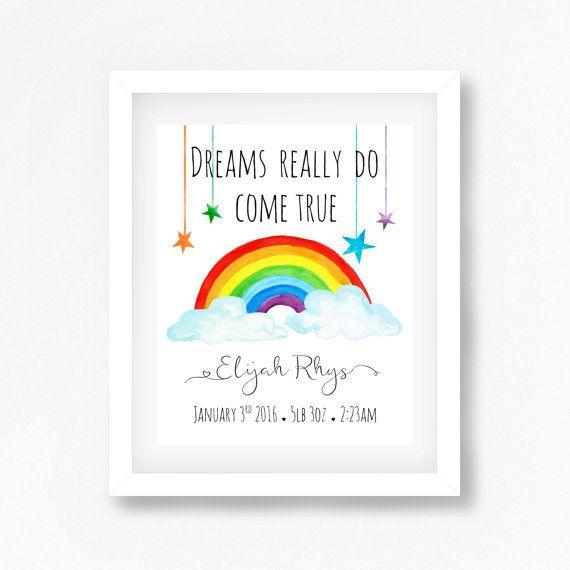 Rainbow Nursery Art Print Rainbow Baby Gift by PerfectLittlePrints