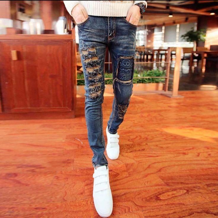 Aliexpress.com: Comprar Estilo Coreano de la manera Diseñador de la Marca Para Hombre Jeans Ajustados Elásticos Rasgados Denim Jeans Hombres Vintage Washed Apenada Jeans Para Hombres de los hombres de moda los pantalones vaqueros flacos fiable proveedores en Idopy Mens