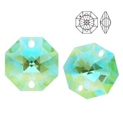 STRASS Swarovski 8116 Octagon 14mm Antique Green Blue AB with 2 holes  Dimensions: 14,0 mm Colour: Antique Green Blue AB 1 package = 1 piece