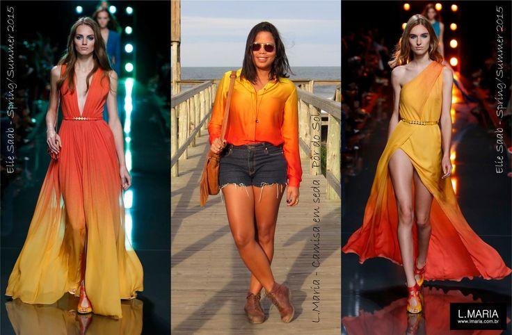 Elie Saab, gênio que traduz como ninguém os sonhos femininos em seus vestidos, apostou no degradê amarelo e laranja em sua coleção primavera-verão 2015. Aqui na L.Maria as cores já são tendência a tempo. Veja mais da nossa camisa Pôr do sol em nossa loja: http://www.lmaria.com.br/loja - See more at: http://www.lmaria.com.br/lmaria/2014/10/l-maria-camisa-por-do-sol/#sthash.JlO0dB5L.dpuf