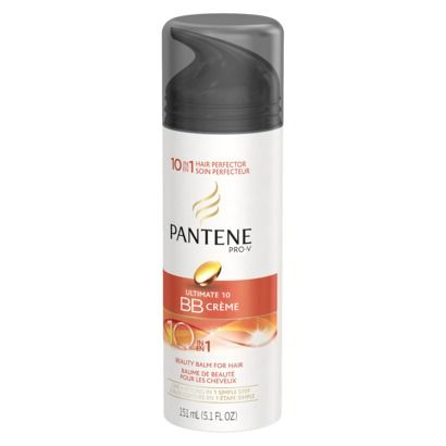 $6 Pantene Pro-V Ultimate 10 BB Creme - 5.1 oz -- a 10-in-1 styling cream that vows to repair rough hair, strengthen, add silkiness/shine/manageability, smooth and moisturize, control frizz, protect against heat and fight (fight!? battle?) flyaways.