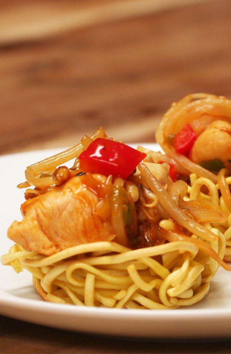 Chicken Chow Mein Nests