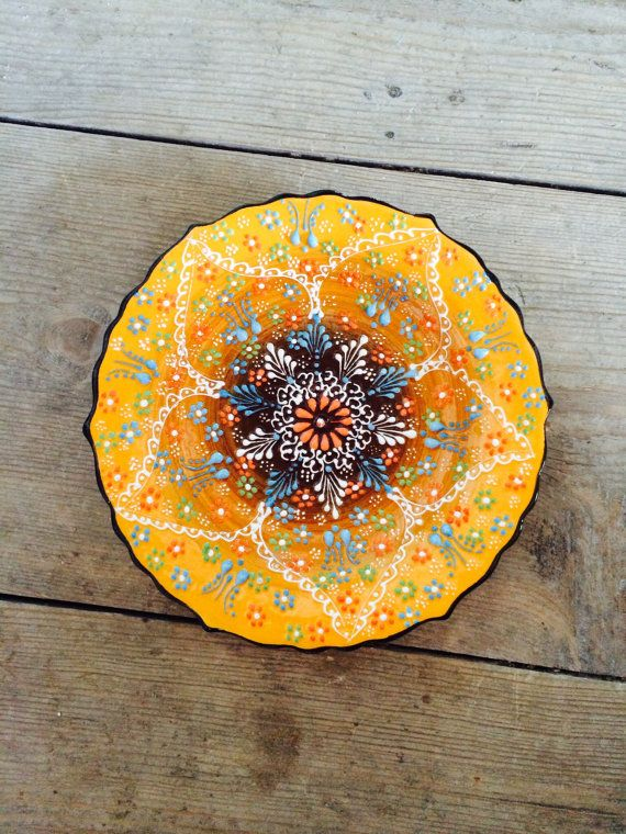 Yellow Hand Made Turkish Ceramic Plate / Wall Decor by Turqu50, $20.00