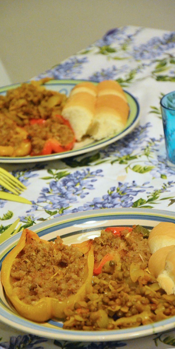 Peperoni al pane secco e lenticchie alle spezie turche