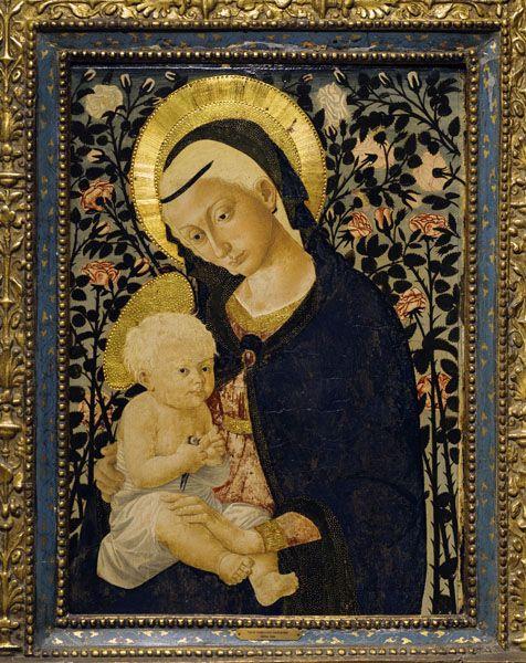 "Pseudo Pier Francesco Fiorntino. ""Virgin and Child."" mid 15th C. Tempera on panel."