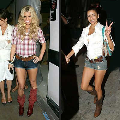 Denim shorts,boots and tank top is my style.I feel more myself when I wear this outfit. Plus I love boots!