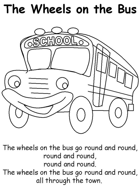 wheels on the bus color page and song