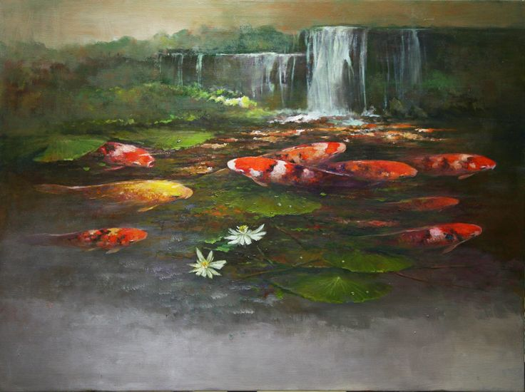 Prosperity - KOIS by Choo Keng Kwang, 90 x 120cm, Oil on Canvas, 2009.