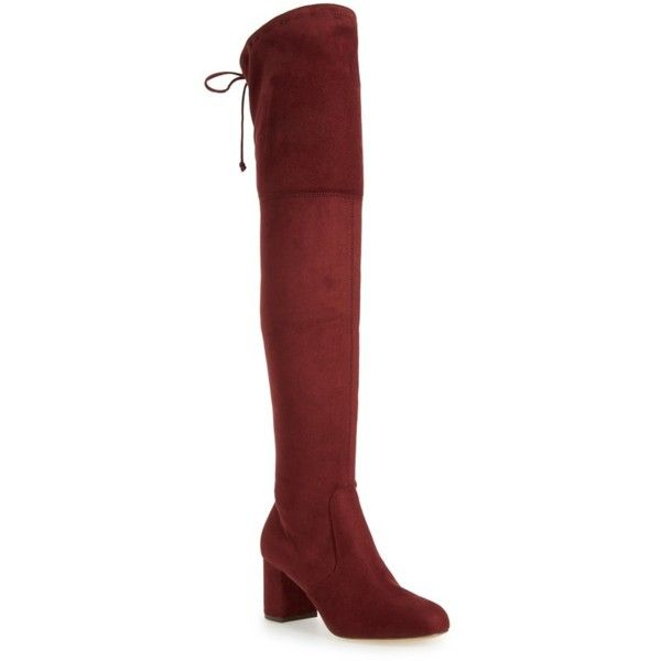 Women's Charles By Charles David Owen Over The Knee Boot ($149) ❤ liked on Polyvore featuring shoes, boots, cabernet suede, above the knee boots, charles by charles david, suede thigh-high boots, suede thigh high boots and block heel boots