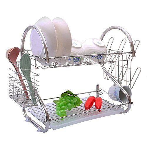 2-Tiers Rustproof Stainless Steel Metal Wire Medium Dish Drainer Drying Rack,Kitchen Plate Chopstick Cup Utensil Organizer Holder With Drip Tray (Stainless Steel, Chrome). For product & price info go to:  https://all4hiking.com/products/2-tiers-rustproof-stainless-steel-metal-wire-medium-dish-drainer-drying-rackkitchen-plate-chopstick-cup-utensil-organizer-holder-with-drip-tray-stainless-steel-chrome/