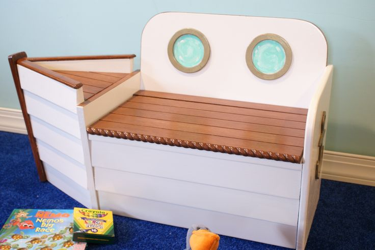 Boat Toy Chest and bench Your little ones can take to the high seas in their own personalized boat toy chest. Perfect for all nautical themed nurseries