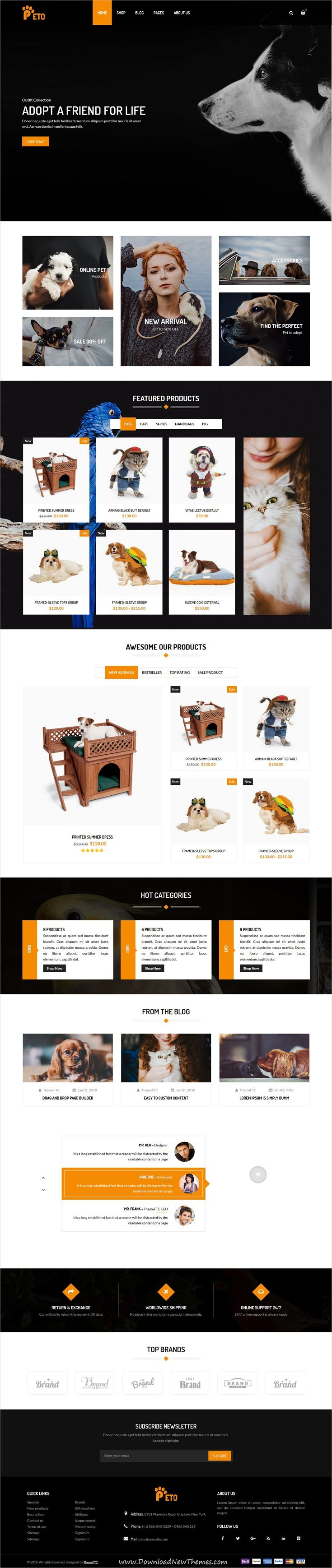Peto is clean and modern design 4in1 responsive #WordPress theme for #pets shop, #veterinary clinic, animal #shelters eCommerce website to live preview & download click on Visit