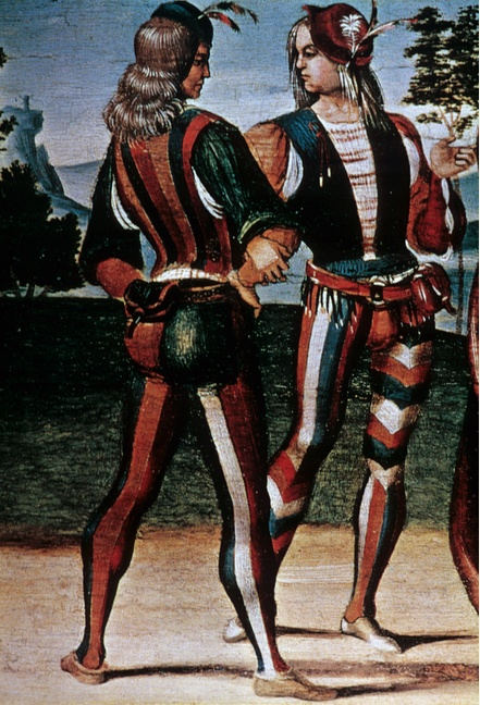 """Chevron hose  """"The Adoration of the Magi""""  Late 15th century  codpiece, and parti-colored hose"""