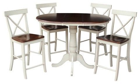 """International Concepts 5 Piece Dining Set 36"""" Round Extension Dining Table Wood/Antiqued Almond & Espresso"""
