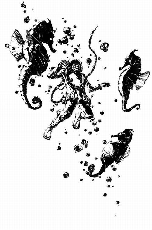 Doug Cowan Original Ink Drawing ' Deep-Sea Diver with Giant Seahorses ' - Doug Cowan - RonSusser.com