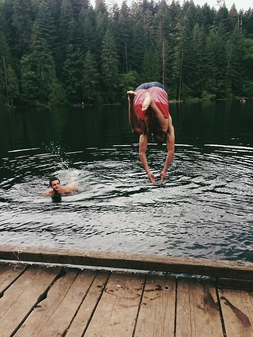 lake swimming camping forest advertures