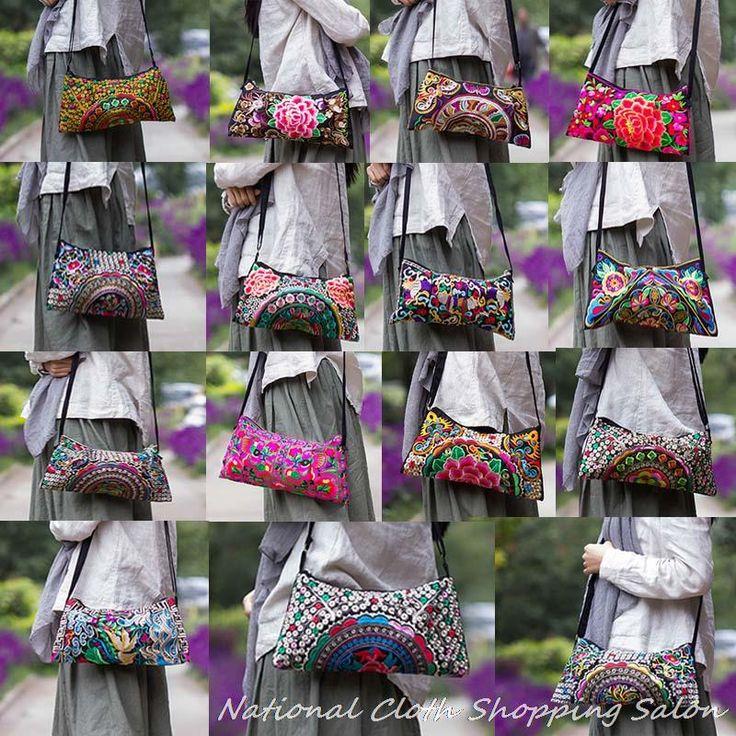 Купить товарНациональный двусторонняя вышивка этнической холст вышитые плеча сумку дамы cross body небольшой клатч сумка в категории Сумки на плечона AliExpress.
